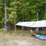Adam setting up his hammock