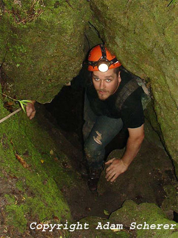 Bill's brother Phil climbing out of Catacombs