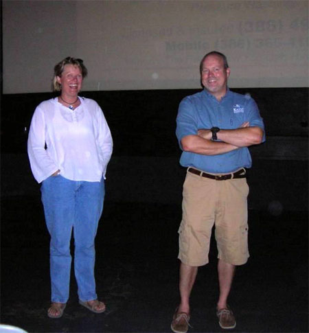 Jill and Wes address the crowd before the show starts