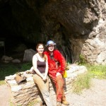 Haley Grasty and Brian Williams at the entrance to Island Ford Cave